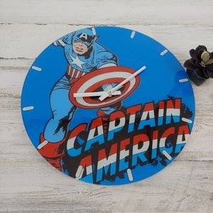 Captain America Marvel Glass Hanging Clock